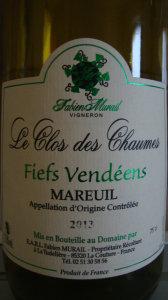 Le Clos des Chaumes à Mareuil, Fiefs Vendéen 2013