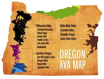 Carte de l'Oregon et ses AVAS